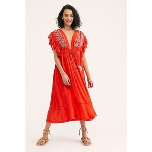 Free People Red Will Wait for You Midi Dress